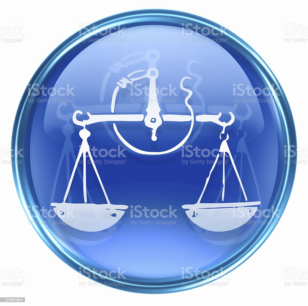 Libra zodiac icon blue, isolated on white background. royalty-free stock vector art