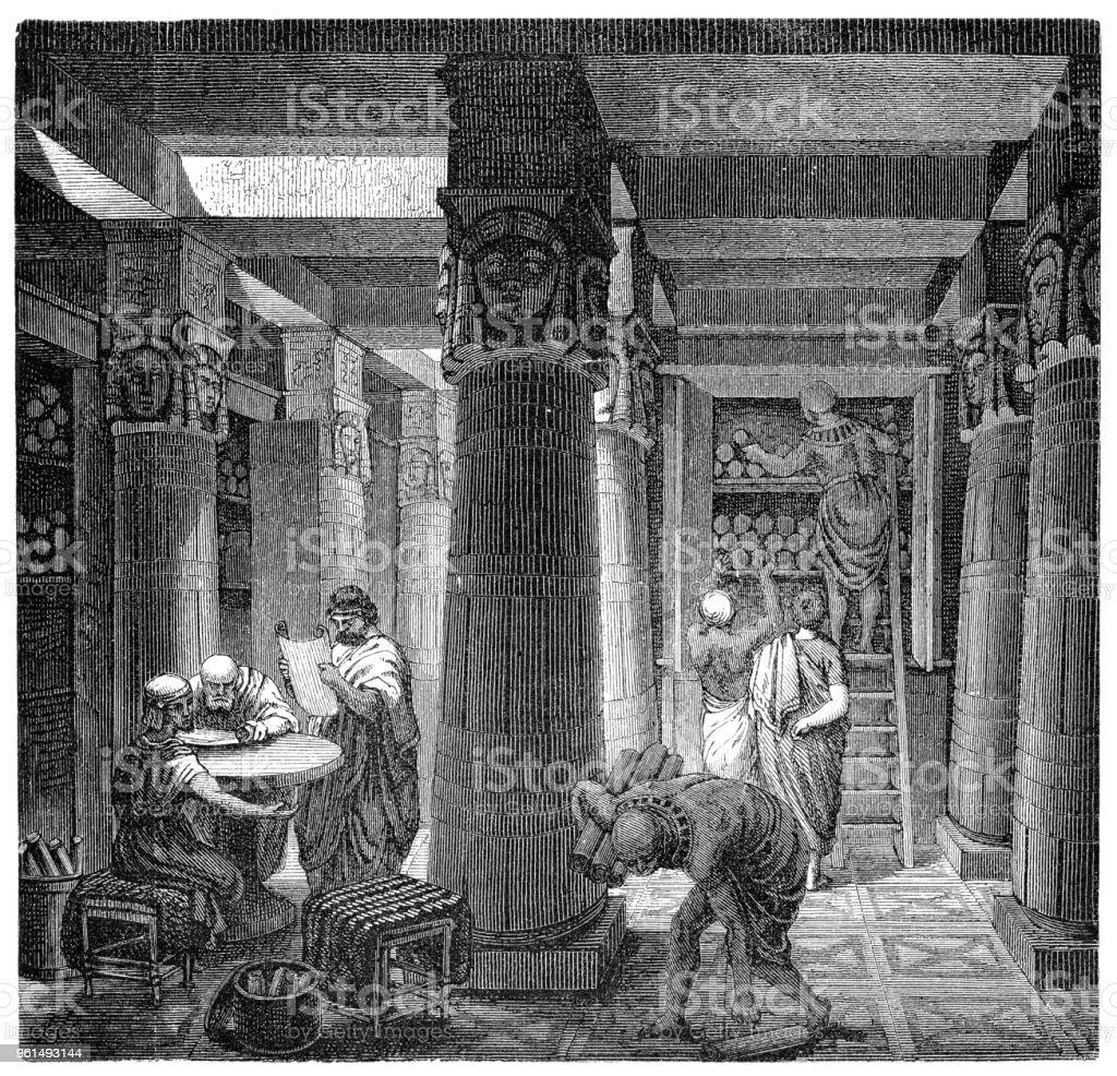 Bibliothek von Alexandria oder Bibliotheca Alexandrina in Ägypten Abbildung 1880 – Vektorgrafik