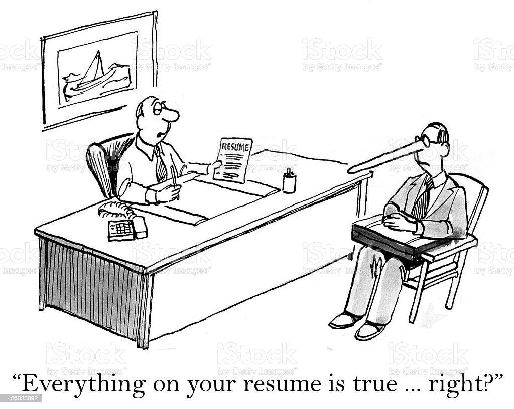 Lies on Resume vector art illustration