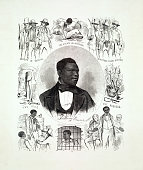 Vintage illustration features a portrait of the fugitive slave Anthony Burns, whose arrest and trial under the Fugitive Slave Act of 1850 fueled riots and protests by abolitionists and citizens of Boston in the spring of 1854.