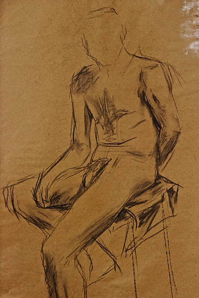 life drawing man in charcoal - art class stock illustrations, clip art, cartoons, & icons