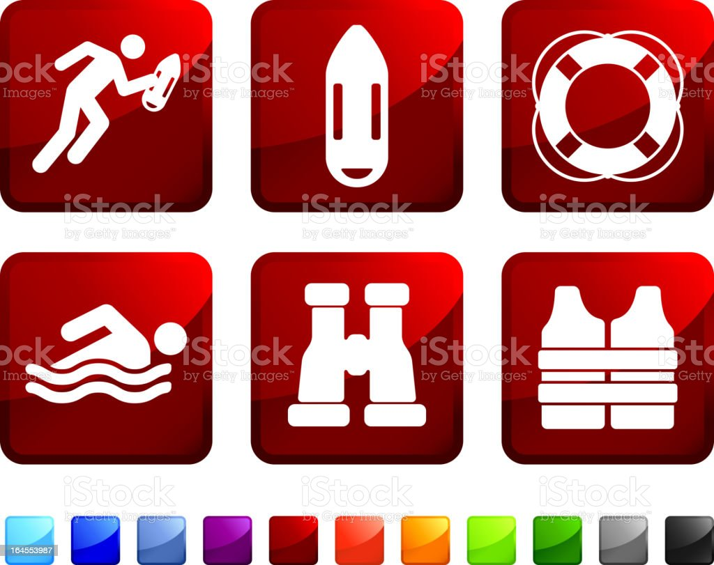 Life guard on duty sticker set against a white background royalty-free stock vector art