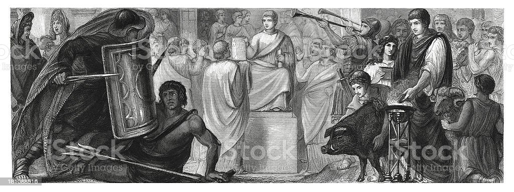 Life in ancient Rome (antique wood engraving) royalty-free stock vector art