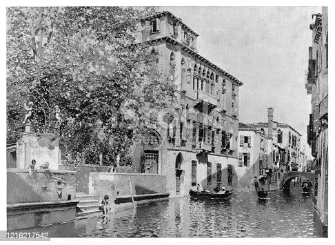 Life in Venice - Scanned 1894 Engraving