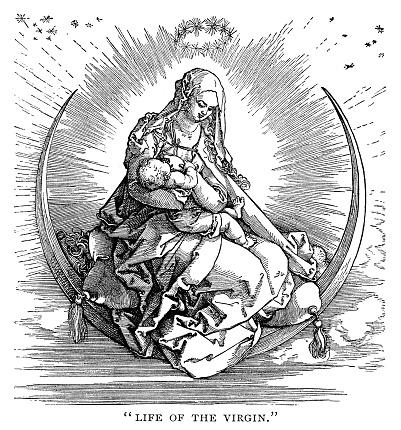 Life of the Virgin by Albrecht Dürer - Scanned 1890 Engraving