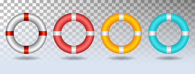 Life ring set icon vector illustration isolated on white background