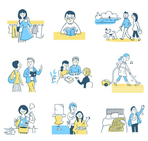 様々な人々の生活シーン - 家族 日本人点のイラスト素材/クリップアート素材/マンガ素材/アイコン素材