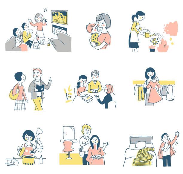 様々な人々の生活シーン - 美容室点のイラスト素材/クリップアート素材/マンガ素材/アイコン素材