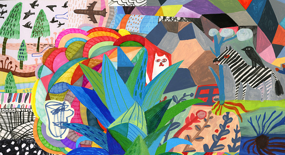 Life. Travel. Abstract colourful collage.