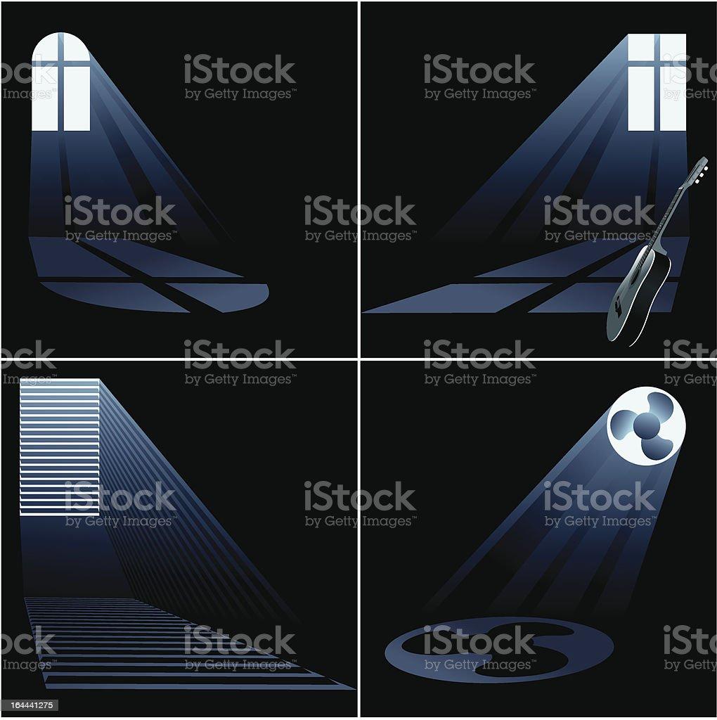 light beams inside window - set vector art illustration