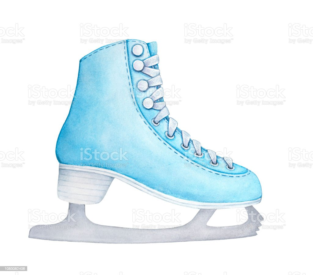 Light Blue Figure Ice Skates With Steel Blades White Sole And Laces Beautiful Symbol Of Winter Activities One Single Object Side View Stock Illustration Download Image Now Istock