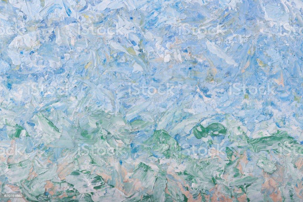 Bleu Ciel Vert Printemps Et été Abstrait De Peinture à Lhuile