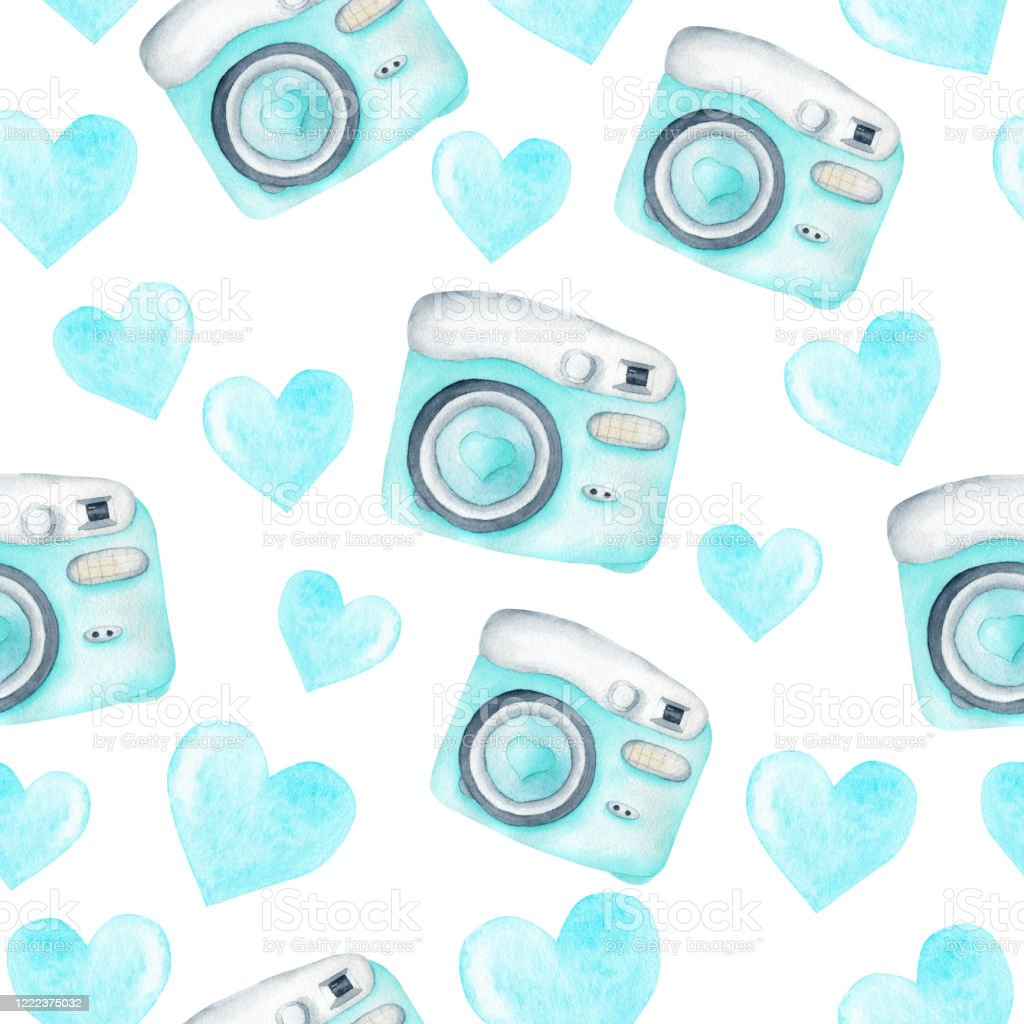 Light Blue Photo Cameras And Hearts Watercolor Clipart Seamless Pattern Digital Paper Background Stock Illustration Download Image Now Istock