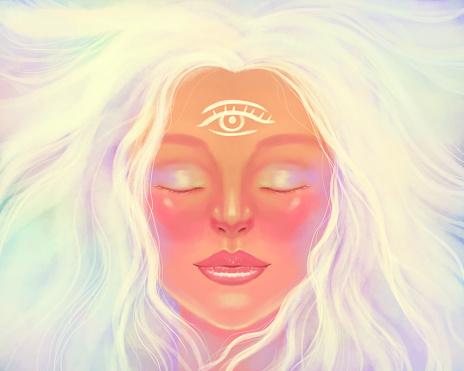 Light bright woman girl portrait. Symbol of spirituality, spiritual awakening, mindfulness, meditation and healing. The third eye is on the woman's forehead.