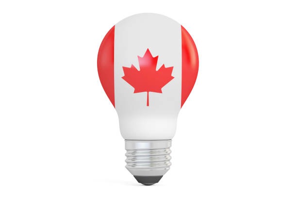 Light bulb with Canada flag, 3D rendering isolated on  white background vector art illustration