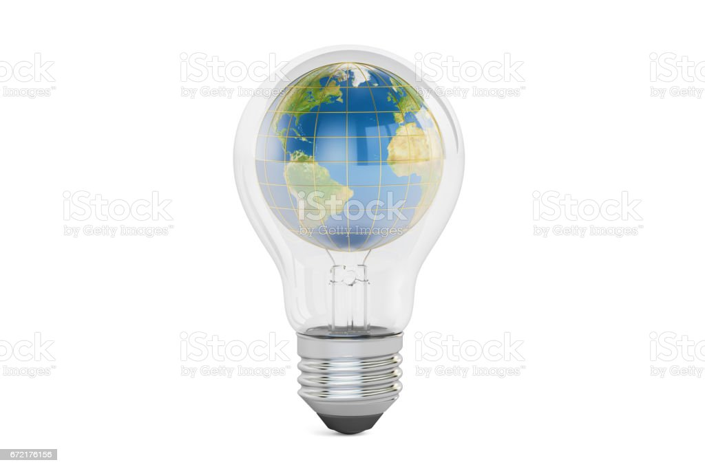 Light bulb with earth globe inside, save energy concept. 3D rendering isolated on white background vector art illustration