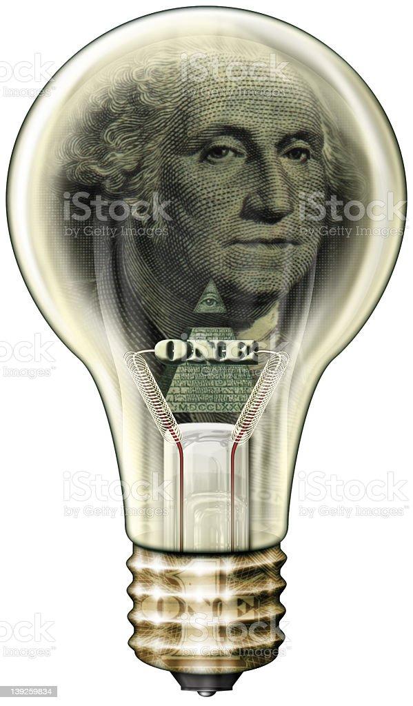 Light Bulb With One Dollar Washington Inside Stock Vector