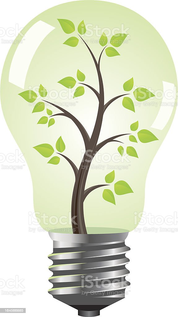 Light bulb with tree royalty-free stock vector art