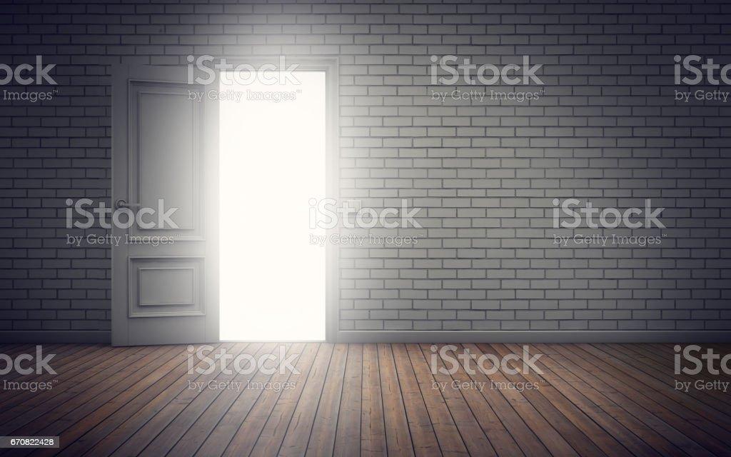 Light coming through doorway. 3d rendering vector art illustration
