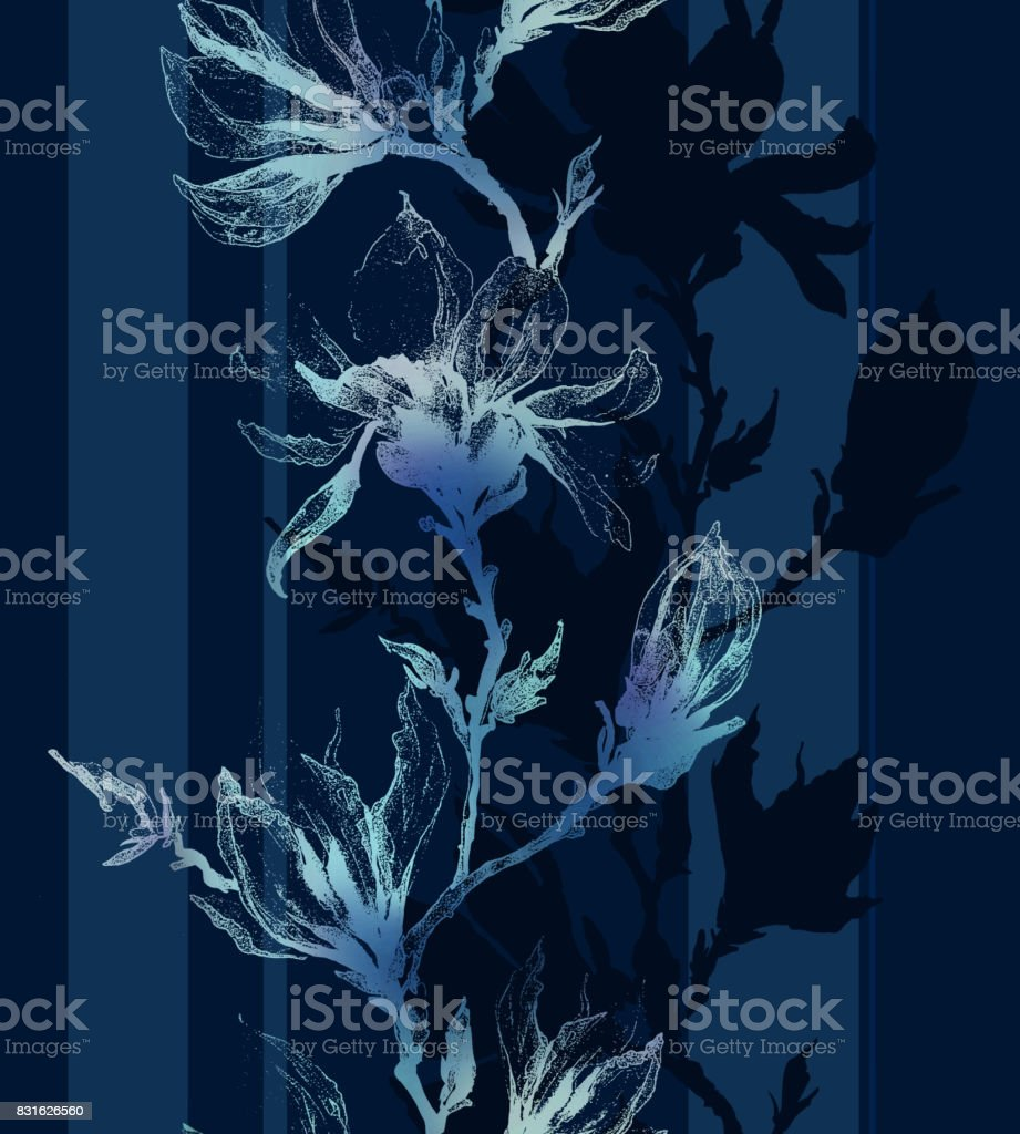 Light contour of magnolia flowers on a twig and vertical lines on dark sapphire blue background. Seamless pattern. vector art illustration