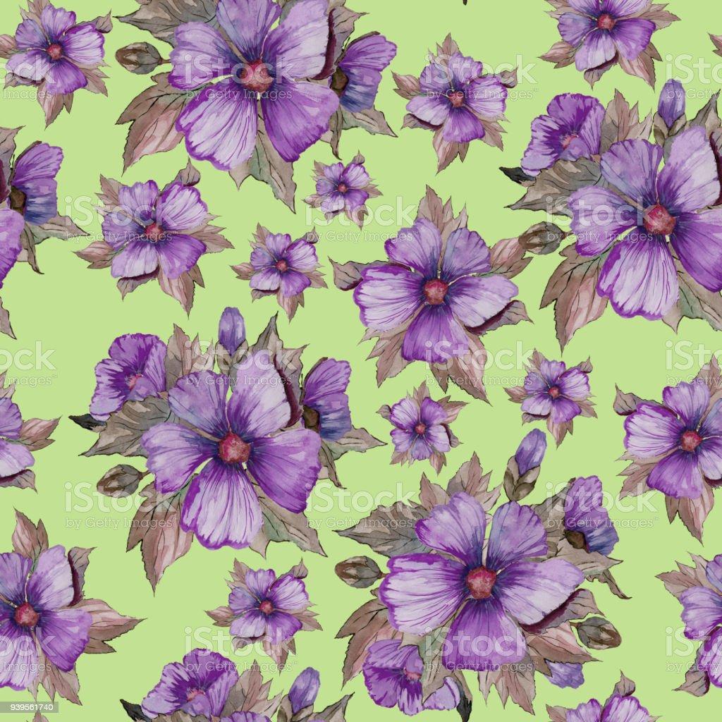 Ilustración de Luz Púrpura Malva Flores Con Hojas De Color Marrón ...