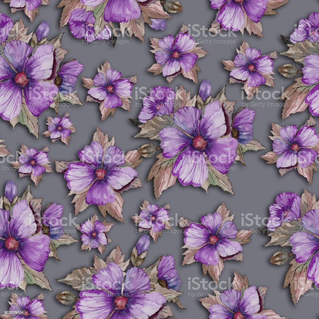 Fleurs Mauve Violet Clair Avec Les Feuilles Vertes Et Brunes ...