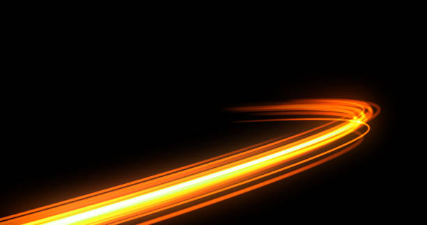 bildbanksillustrationer, clip art samt tecknat material och ikoner med ljusspår blixt, neon gul och orange gyllene glöd väg spår effekt. ljusspår våg, brandväg spårlinje, bil lampor, optisk fiber och incandescence kurva virvel - lång exponeringstid