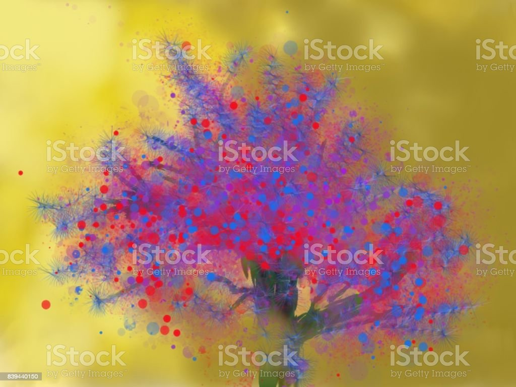 Light tree An illustration, digital tachism technique, which can serve as background texture, and also a beautiful decorative design. Art stock illustration