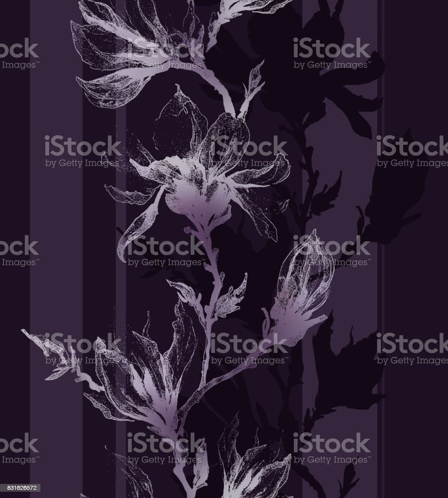 Light violet contour of magnolia flowers on a twig and vertical lines on dark purple background. Seamless pattern. vector art illustration