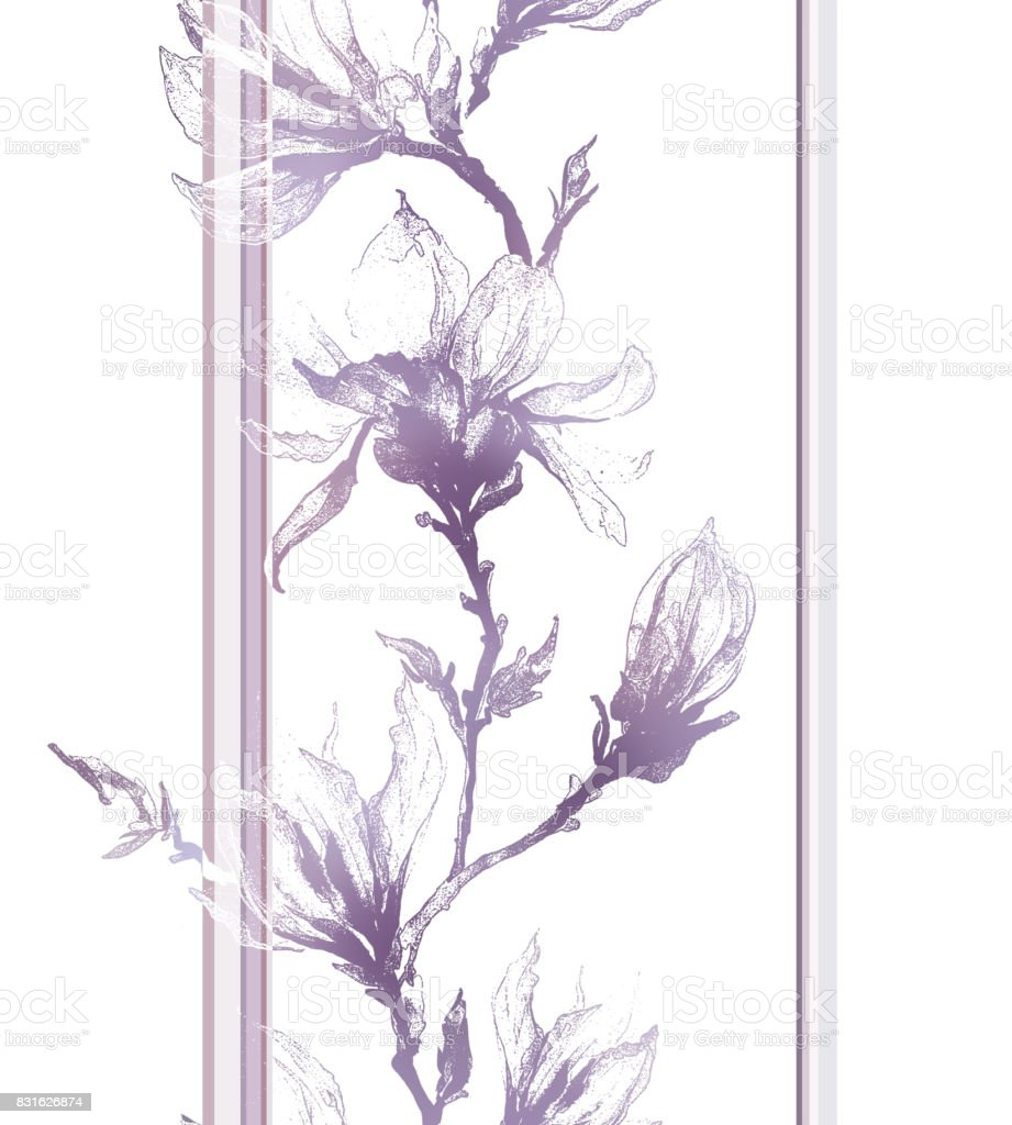 Light violet contour of magnolia flowers on a twig and vertical lines on white background. Seamless pattern. vector art illustration