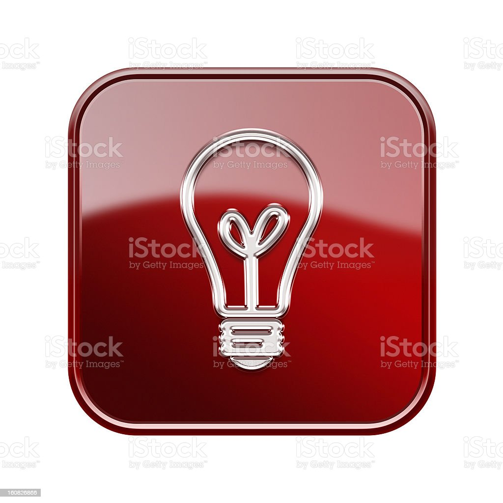 lightbulb icon glossy red, isolated on white background royalty-free stock vector art