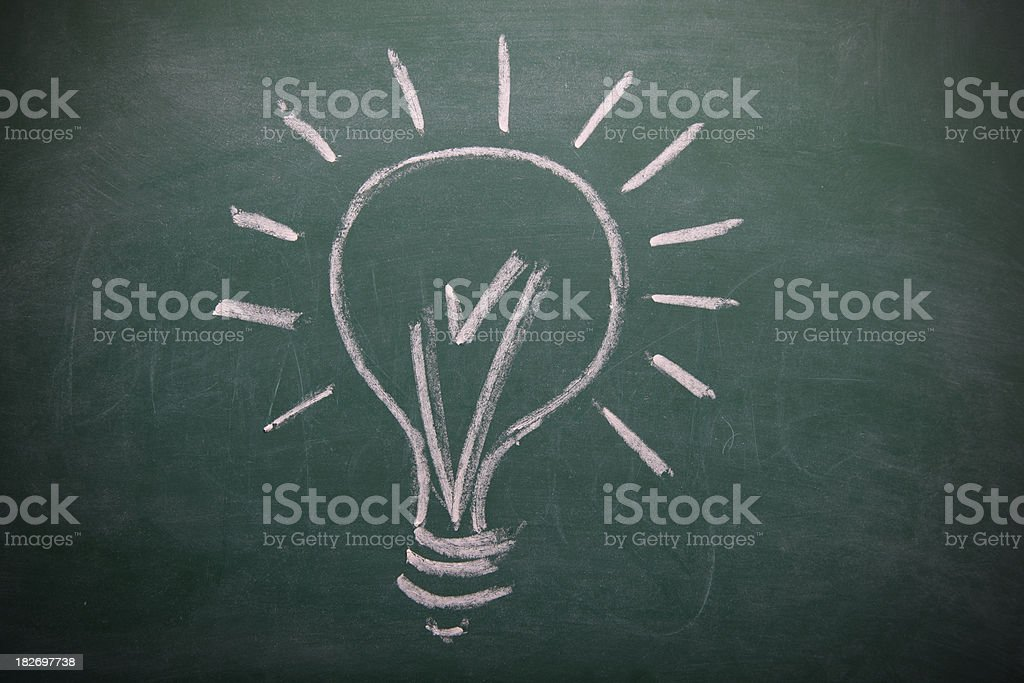 Lightbulb on a blackboard royalty-free lightbulb on a blackboard stock vector art & more images of arts culture and entertainment