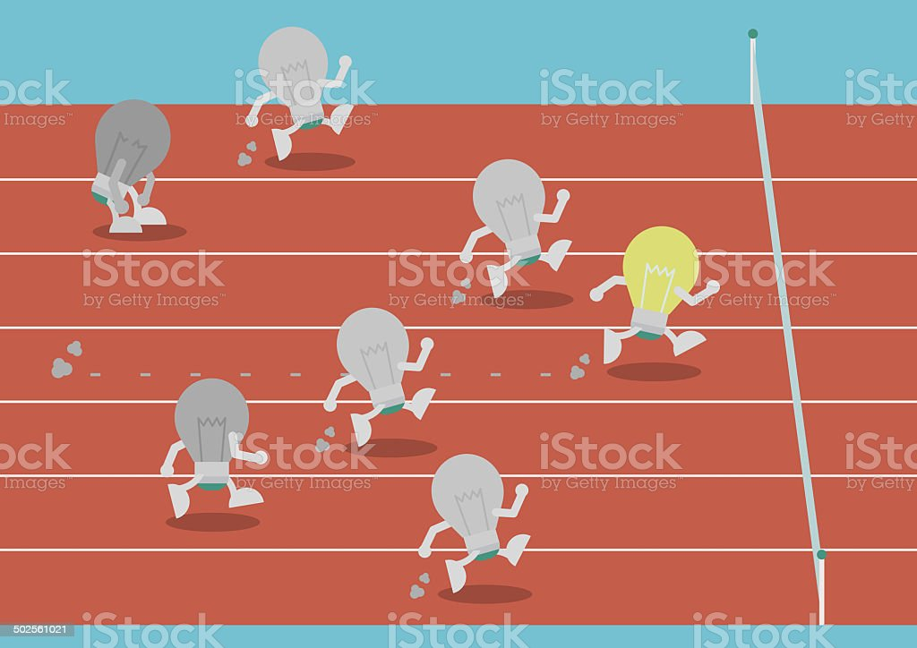 lightbulb on racecourse vector art illustration