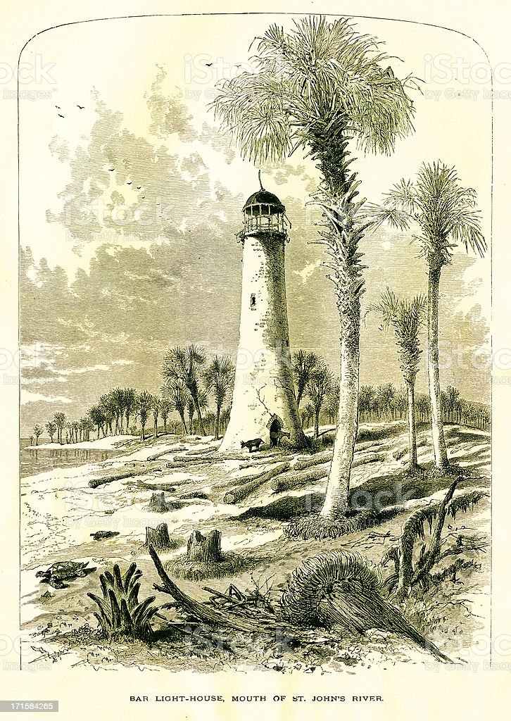 Lighthouse at the Mouth of St. Johns River, Florida royalty-free lighthouse at the mouth of st johns river florida stock vector art & more images of 19th century