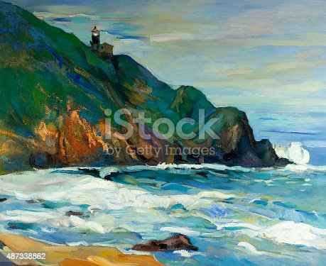 Original oil painting of  lighthouse on the seacoast on canvas.Modern Impressionism