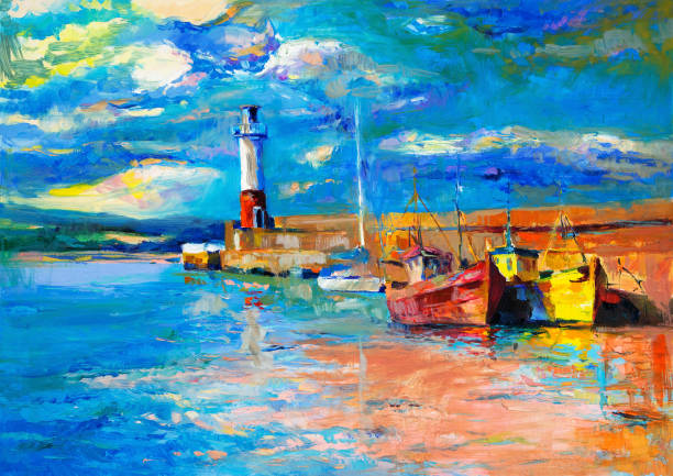 Lighthouse Original oil painting of  lighthouse and boats on canvas.Rich golden  Sunset over ocean.Modern Impressionism impressionism stock illustrations