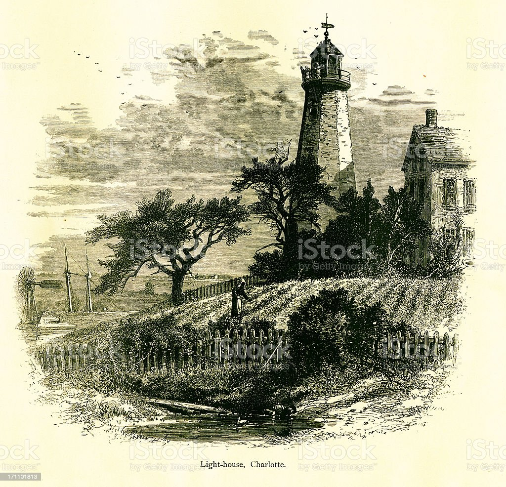 Lighthouse in Charlotte, New Jersey | Historic American Illustrations royalty-free stock vector art