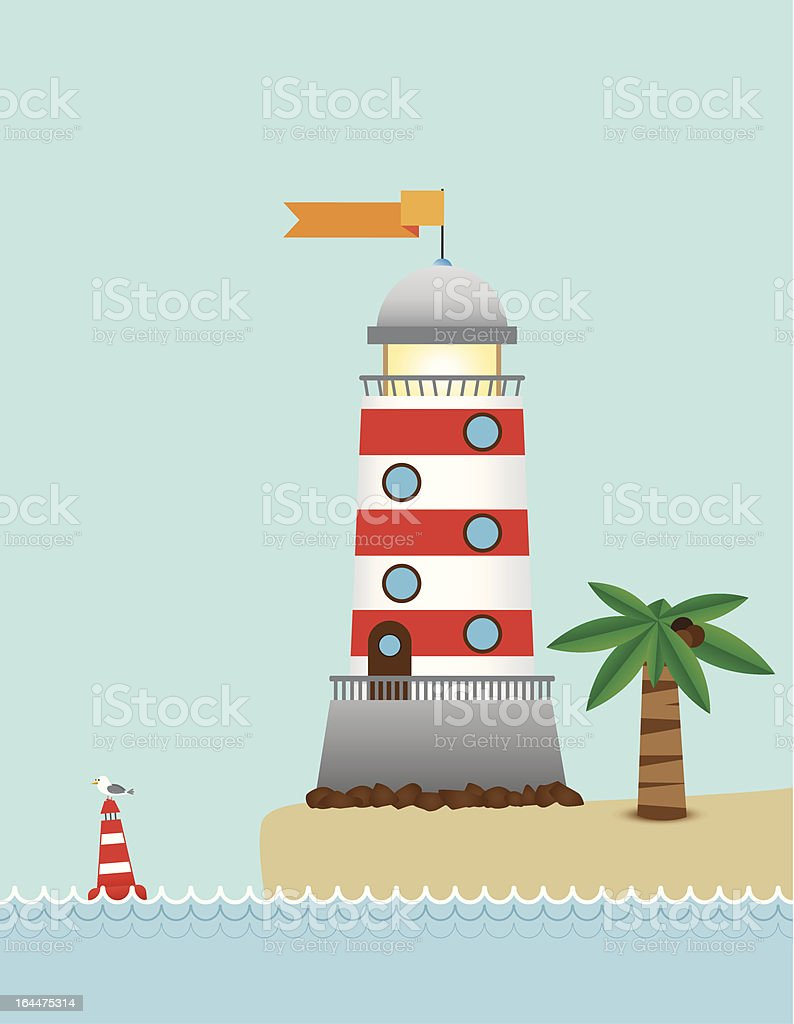 Lighthouse On The Island royalty-free stock vector art