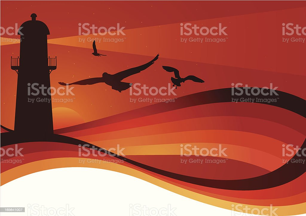 Lighthouse sunrise royalty-free stock vector art