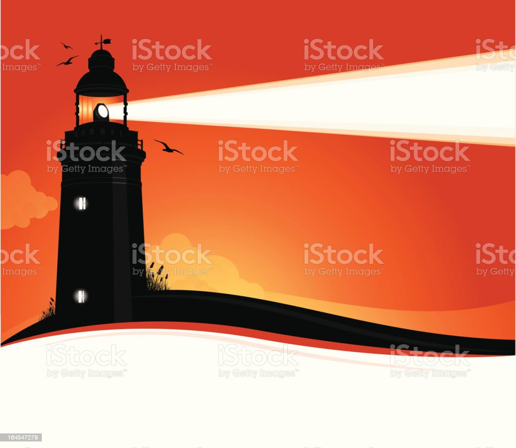 Lighthouse Sunset Highly-detailed lighthouse silhouette at sunset. Architecture stock vector