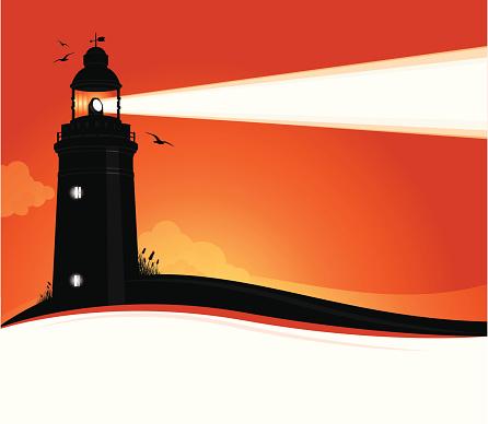 Lighthouse Sunset Stock Illustration - Download Image Now