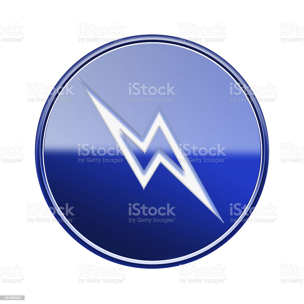 Lightning icon glossy blue, isolated on white background. royalty-free lightning icon glossy blue isolated on white background stock vector art & more images of bad news