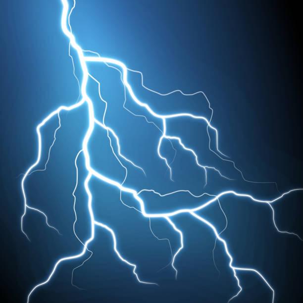 lightning strike on black background lightning strike on black background forked lightning stock illustrations