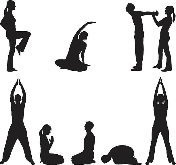 ilustrações, clipart, desenhos animados e ícones de flexível casal fazendo yoga e alongamento - personal trainer
