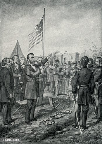 Image from 1897 showing President Abraham Lincoln at Gettysburg.