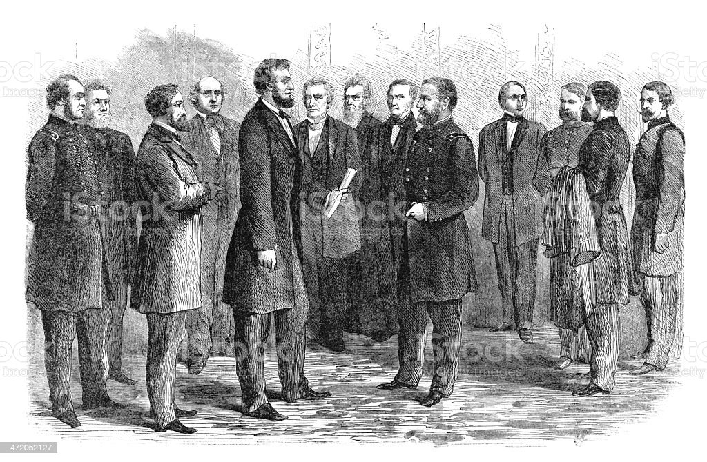 Lincoln Gives Commission to Gen. Grant - Antique Engraving vector art illustration