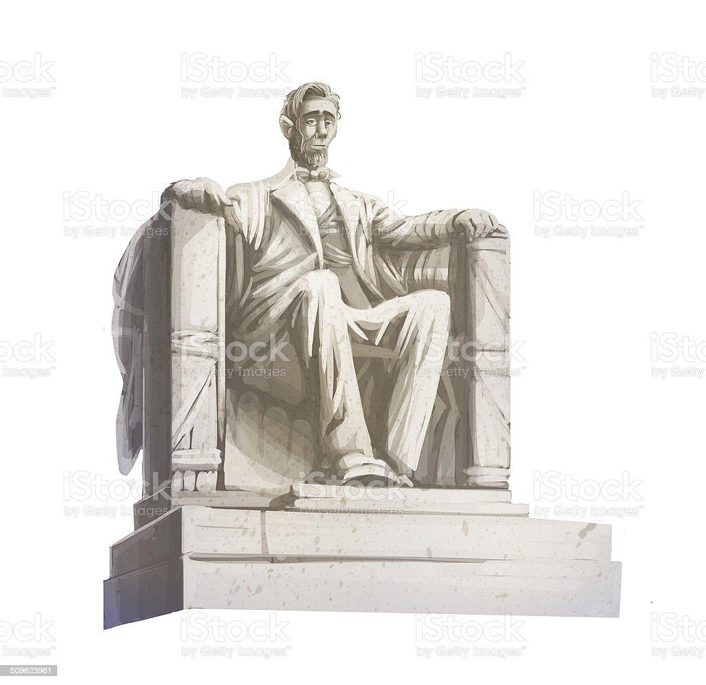 Lincoln statue vector art illustration