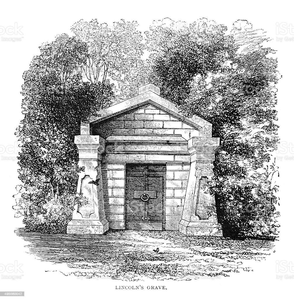 Lincoln's grave vector art illustration