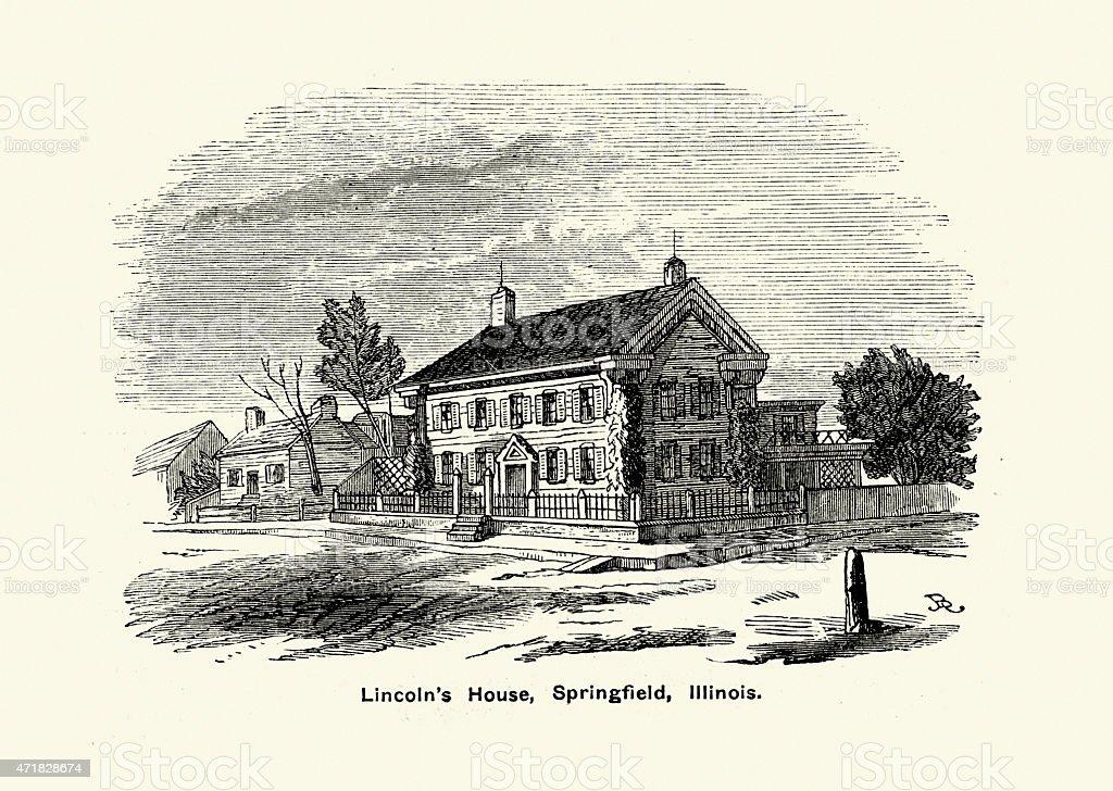 Lincoln's House, Springfield, Illinois vector art illustration