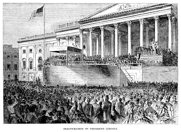 Lincoln's Inauguration - Antique Illustration Antique engraved image of Abraham Lincoln's presidential inauguration. inauguration stock illustrations